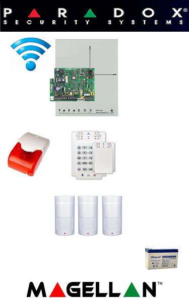 Sistem de alarmă wireless pentru apartament Paradox (trei senzori)