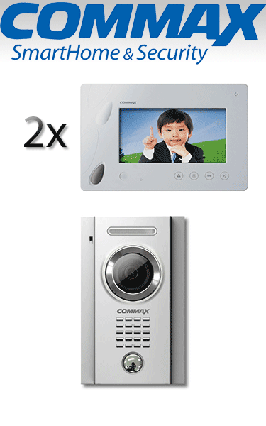 "Kit videointerfon Commax cu un post și două monitoare 7"" hands free VI-209-I2"
