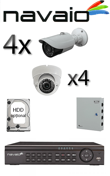 Kit sistem video Dome cu 2 camere HD HIKVISION