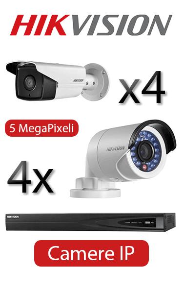 Kit supraveghere video IP cu 4 camere Mini Bullet si 4 Bullet Hikvision