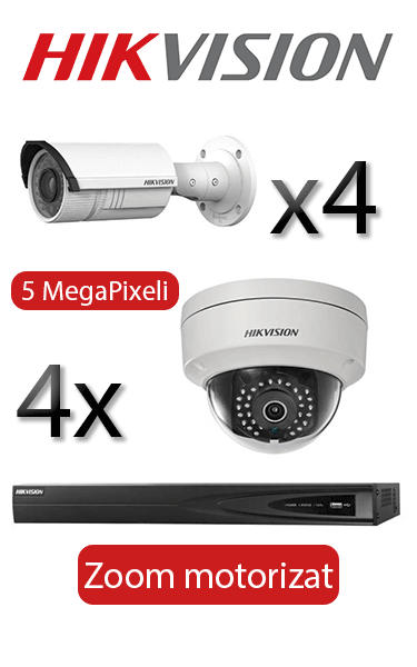 Kit supraveghere video IP cu 4 camere Bullet si 4 Dome motorizate Hikvision
