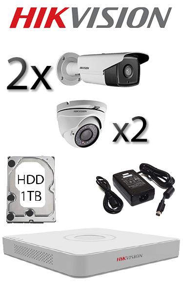 Sistem video interior și exterior cu 2 dome și 2 camere exterior HD HIKVISION SV-94-I2E2