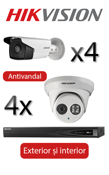 Kit supraveghere video IP cu 4 camere Bullet și 4 Dome Antivandal FULL HD Hikvision SVI-133-I4E4