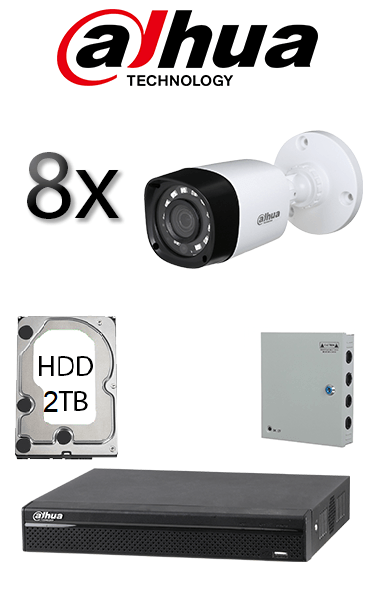 Kit sistem video de exterior cu 8 camere HD DAHUA SV-69-E8