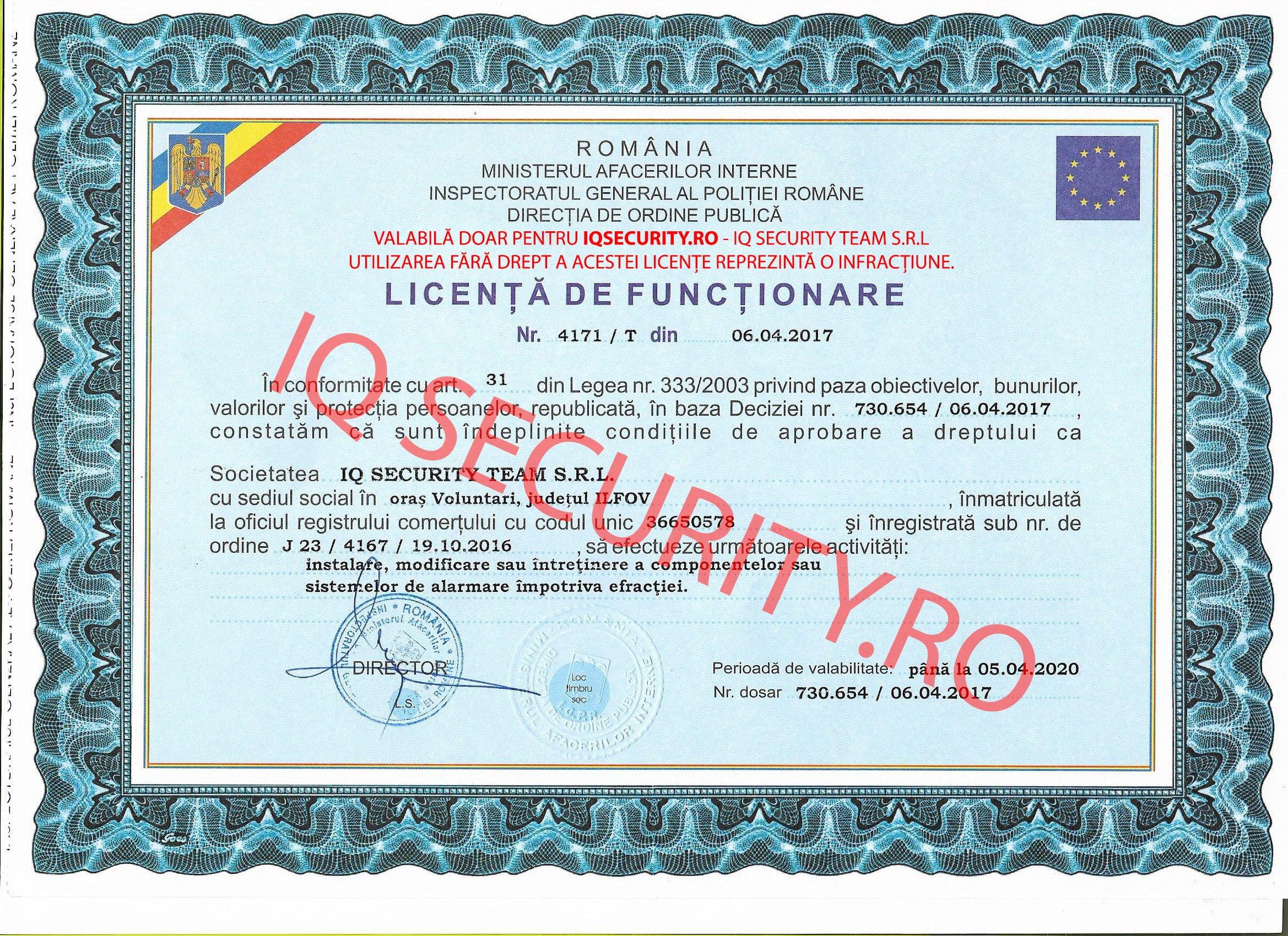 Licența funcționare IQ Security Team S.R.L.