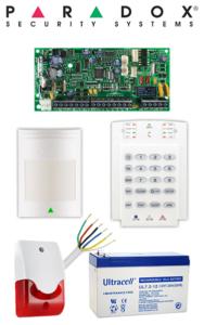 Sistem de alarma cablat cu 1 senzor, sirenă interior, baterie, pentru apartament Paradox SA-11-C1