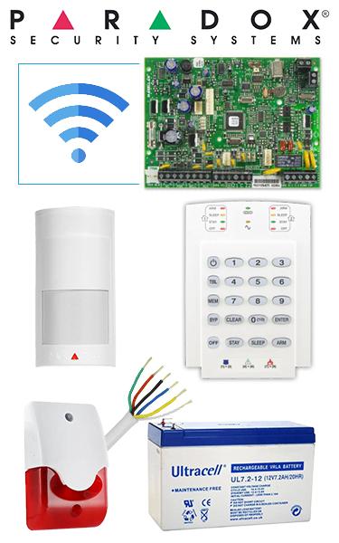 Sistem de alarma wireless cu 1 senzor, sirenă interior, baterie, pentru apartament Paradox SA-16-W1