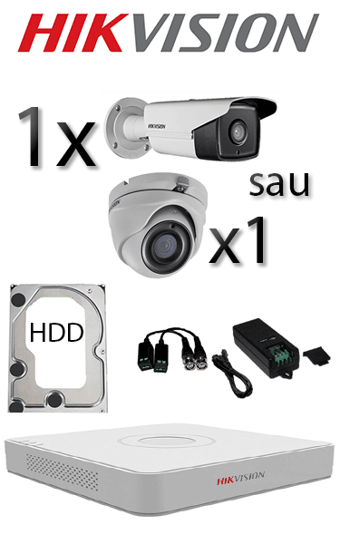 Sistem video interior și exterior cu 1 camera dome interior sau 1 camera bullet exterior HD HIKVISION SV-95-I1E1