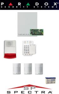 Sistem de alarma cablat cu 3 senzori, sirenă exterior, baterie pentru apartament Paradox SA-42-C3