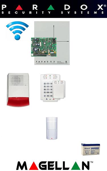 Sistem de alarmă wireless cu 1 senzor, sirenă exterior, baterie pentru apartament Paradox SA-43-W1