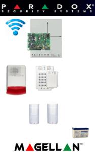 Sistem de alarmă wireless cu 2 senzori, sirenă exterior, baterie pentru apartament Paradox SA-44-W2