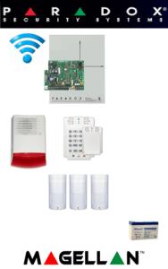 Sistem de alarmă wireless cu 3 senzori, sirenă exterior, baterie pentru apartament Paradox SA-45-W3