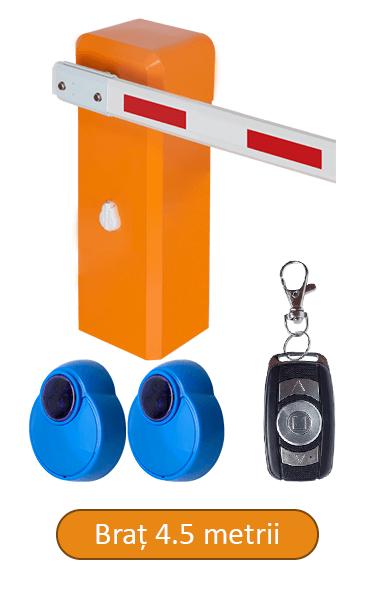 Barieră de acces, brat 4.5 metrii, senzori IR, telecomanda BAR-45-R-IR