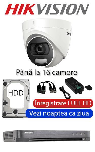 Sistem video interior ColorVU cu camere dome interior, color noaptea FULL HD HIKVISION SV-300-I16