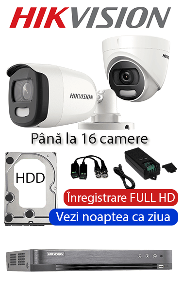 Sistem video interior ColorVU cu camere dome interior, color noaptea FULL HD HIKVISION SV-300-I16