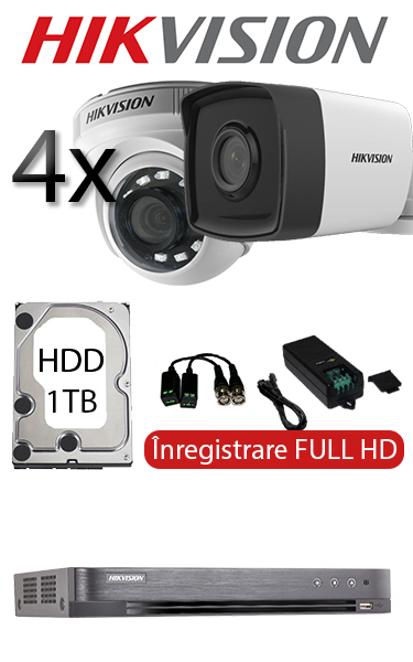 Sistem de supraveghere video cu 4 camere dome interior sau bullet exterior, complet, FULL HD, HDD 1TB, Hikvision SV-O1-4FH