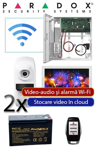 Sistem de alarmă Wireless cu 2 senzor de mișcare și camere video și tastatură touch Paradox OF-P1-W