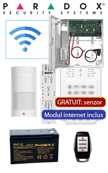 Sistem de alarmă Wireless cu senzor de mișcare wireless și modul IP Paradox OF-P2-IP-W