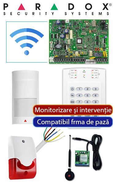 Sistem de alarmă wireless GSM compatibil firmă de pază, cu sirenă de interior PA-O2-WG