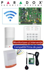 Sistem de alarmă wireless GSM compatibil firmă de pază, cu sirenă de exterior PA-O3-WG