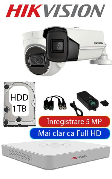 Sistem de supraveghere video cu cameră dome interior sau bullet exterior, complet, 5 MP, HDD 1TB, Hikvision SV-O1-15MP