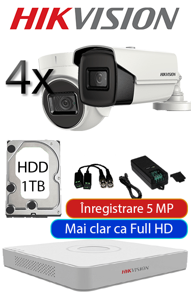 Sistem de supraveghere video cu 2 camere dome interior sau bullet exterior, complet, 5 MP, HDD 1TB, Hikvision SV-O2-5MP