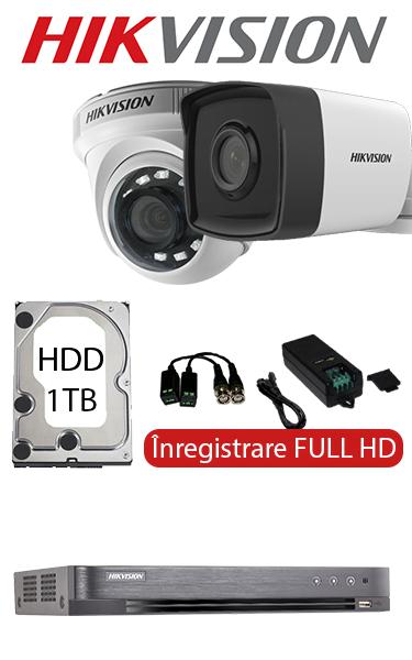 Sistem de supraveghere video cu cameră dome interior sau bullet exterior, complet, FULL HD, HDD 1TB, Hikvision SV-O3-1FH