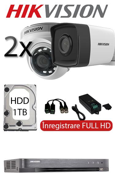 Sistem de supraveghere video cu 2 camere dome interior sau bullet exterior, complet, FULL HD, HDD 1TB, Hikvision SV-O2-2FH