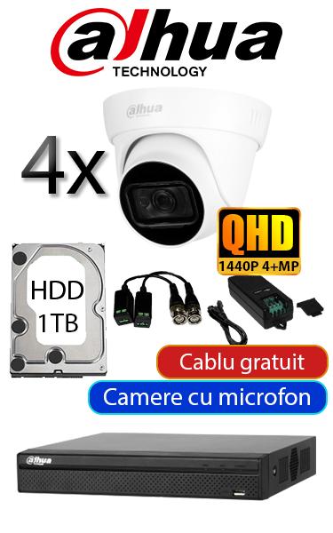 Sistem video de interior cu 4 camere dome, complet, microfon încorporat, 30 metri IR, HDD 1TB QHD DAHUA SV-DH-5M4
