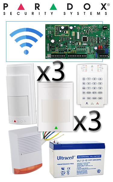 Sistem de alarmă hibrid cu 3 senzori wireless și 3 cablați de mișcare, sirenă de exterior, tastatură standard K10 PA-O1-W3C3