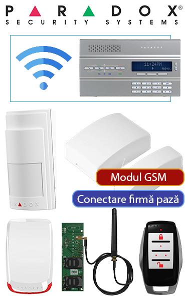Alarmă fără fir cu 1 senzor de mișcare wireless, modul GSM, sirenă radio, tastatură integrată în consolă, compatibil firmă pază PA-CG-W1