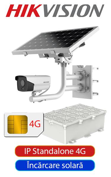 Sistem video IP de exterior cu cameră bullet, panou solar, conectivitate 4G, complet, 30 metri IR, FULL HD Hikvision SV-HK-SOL-FHD