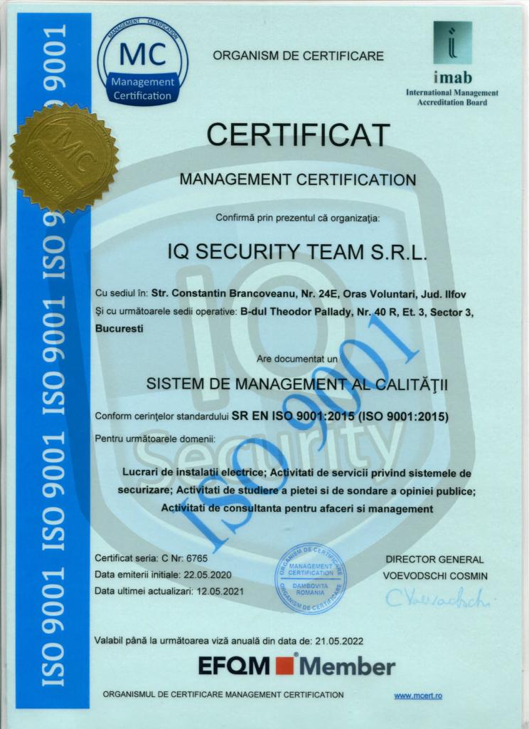 Certificat de calitate ISO IQ Security