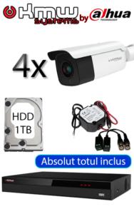 Sistem video interior și exterior cu 4 camere dome 5 MP complex, infraroșu inteligent 50 metri, DVR cu inteligență artificială și recunoaștere facială Dahua KMW SV-IED-100