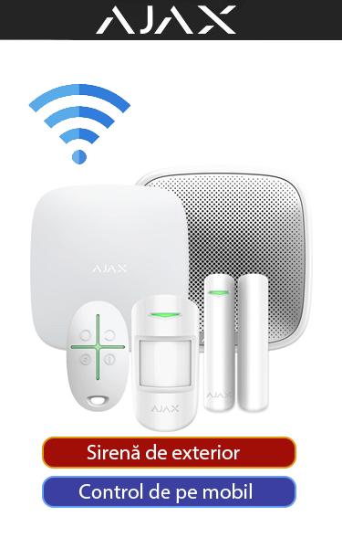 Sistem de alarmă casă, fără fire, cu 1 senzor și 1 contact magnetic, sirenă de exterior AJAX SA-C1-W